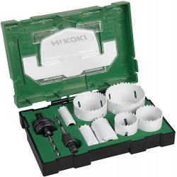 HiKOKI 11 delige Bi-Metaal gatzagenset in box met 19-25-32-38-44-57-68mm en Adapters – 40030032